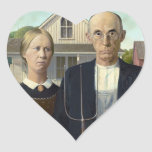 American Gothic by Grant DeVolson Wood Heart Sticker