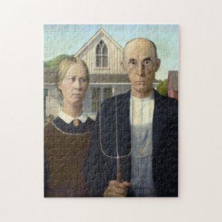 American Gothic by Grant DeVolson Wood Jigsaw Puzzle