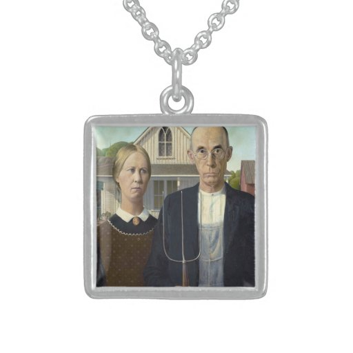 American Gothic by Grant DeVolson Wood Necklaces