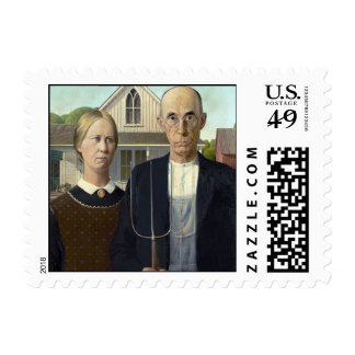 American Gothic by Grant DeVolson Wood Postage