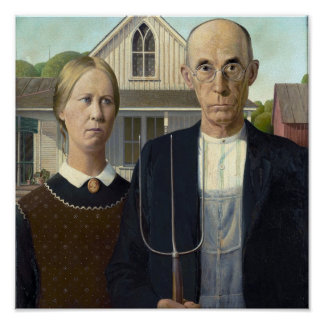 American Gothic by Grant DeVolson Wood Poster