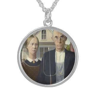 American Gothic by Grant DeVolson Wood Round Pendant Necklace