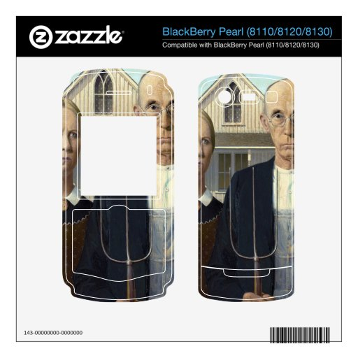 American Gothic by Grant DeVolson Wood Decals For BlackBerry