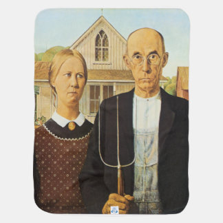 American Gothic by Grant Wood,reproduction art,vin Baby Blankets