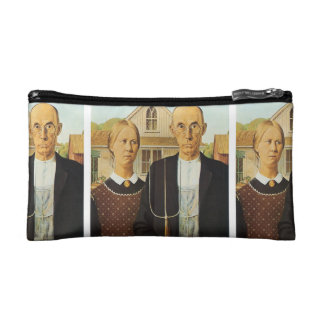 American Gothic by Grant Wood,reproduction art,vin Makeup Bags