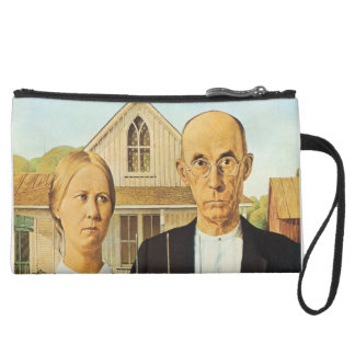 American Gothic by Grant Wood,reproduction art,vin Wristlet