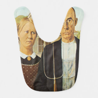 American Gothic by Grant Wood,reproduction art,vin Bibs