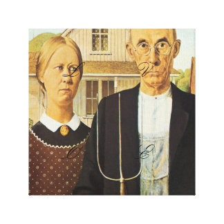 American Gothic by Grant Wood,reproduction art,vin Canvas Print