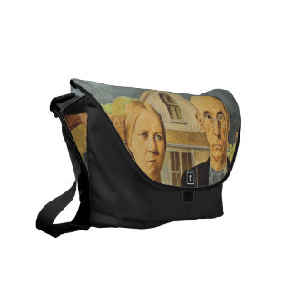 American Gothic by Grant Wood,reproduction art,vin Courier Bags