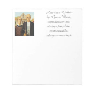 American Gothic by Grant Wood,reproduction art,vin Notepad