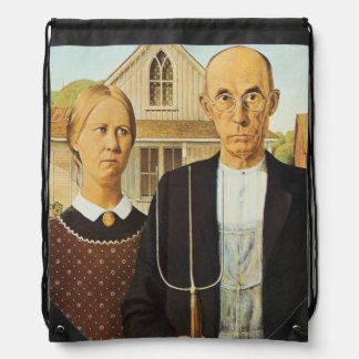 American Gothic by Grant Wood,reproduction art,vin Drawstring Bags