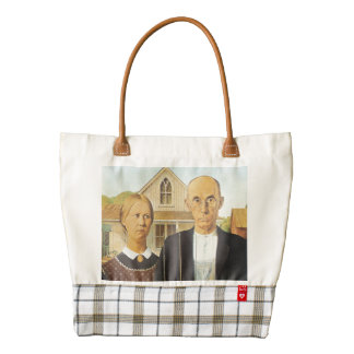 American Gothic by Grant Wood,reproduction art,vin Zazzle HEART Tote Bag