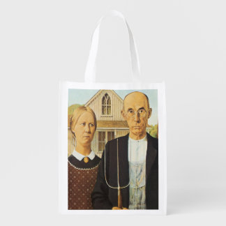 American Gothic by Grant Wood,reproduction art,vin Reusable Grocery Bag