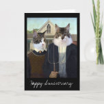 """American Gothic funny Cat anniversary Card<br><div class=""""desc"""">You can customize the message on the front and inside the card.  This image is available on other products in my Zazzle store.</div>"""