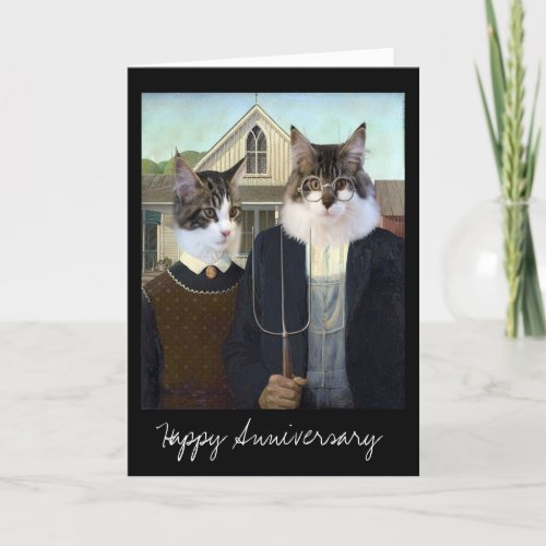 American Gothic funny Cat anniversary Card