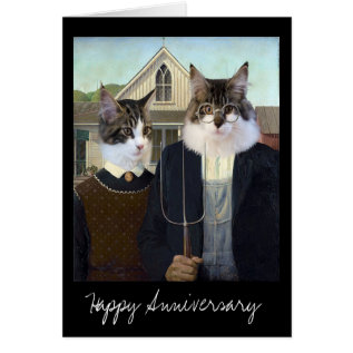 American Gothic Funny Cat Anniversary Card at Zazzle
