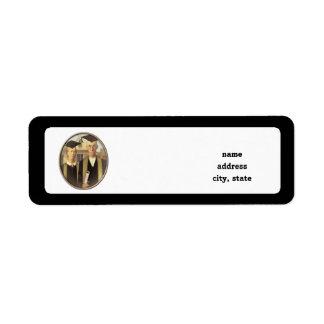 American Gothic Graduation Cameo on Black Return Address Label