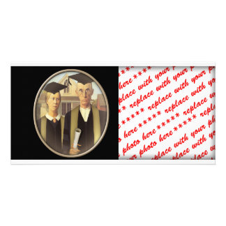 American Gothic Graduation Cameo on Black Photo Greeting Card