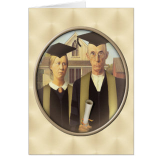 American Gothic Graduation Cameo on Gold Sheen Card