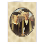 American Gothic Graduation Cameo on Gold Sheen Greeting Card