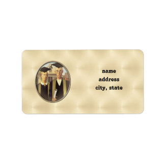 American Gothic Graduation Cameo on Gold Sheen Address Label
