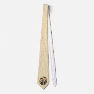 American Gothic Graduation Cameo on Gold Sheen Neck Tie