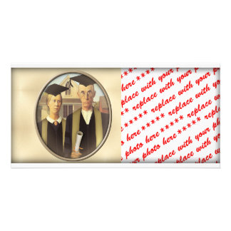 American Gothic Graduation Cameo on Gold Sheen Customized Photo Card