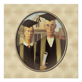 American Gothic Graduation Cameo on Gold Sheen Poster
