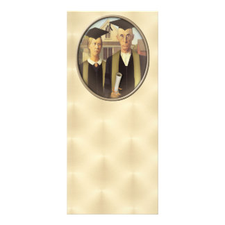 American Gothic Graduation Cameo on Gold Sheen Rack Card Template