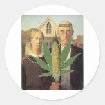 american gothic-grant-wood cornnabis tomacco classic round sticker