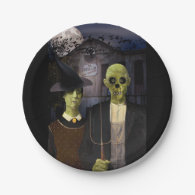 American Gothic Halloween 7 Inch Paper Plate