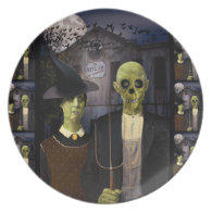 American Gothic Halloween Melamine Plate