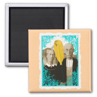 AMERICAN GOTHIC KAYAKERS 2 INCH SQUARE MAGNET