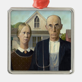 American Gothic Painting by Grant Wood Metal Ornament
