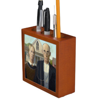 American Gothic Painting By Grant Wood Pencil Holder