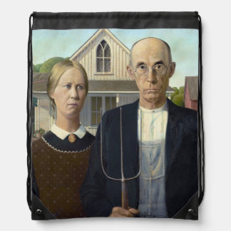 American Gothic Painting by Grant Wood Cinch Bags