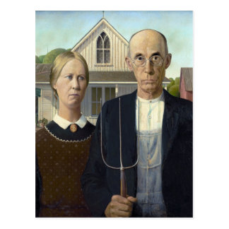 American Gothic Painting by Grant Wood Postcard
