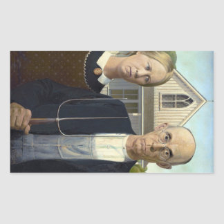 American Gothic Painting by Grant Wood Rectangular Sticker