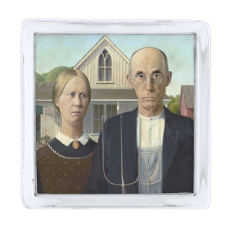 American Gothic Painting by Grant Wood Silver Finish Lapel Pin