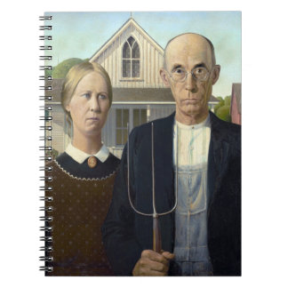 American Gothic Painting by Grant Wood Spiral Notebook