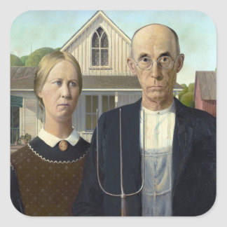 American Gothic Painting by Grant Wood Square Sticker