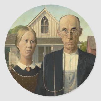 American Gothic Painting Classic Round Sticker