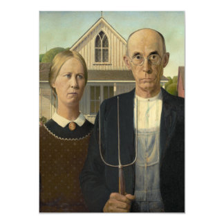 American Gothic Painting Personalized Announcements