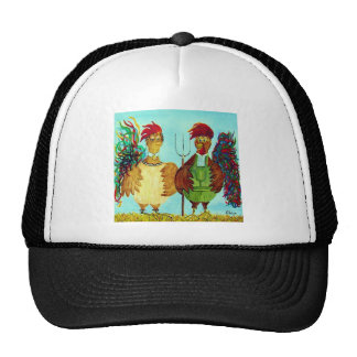 American Gothic Roosters Down on the Farm Trucker Hat