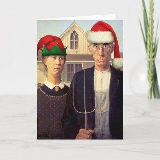 American Gothic Santas Greeting Card card