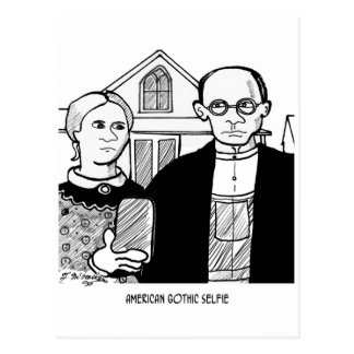 American Gothic Selfie Postcard