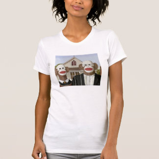 American Gothic Sock Monkey Couple T Shirt