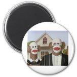 American Gothic Sock Monkeys 2 Inch Round Magnet
