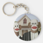 American Gothic Sock Monkeys Basic Round Button Keychain