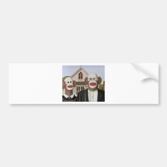 American Gothic Sock Monkeys Bumper Sticker